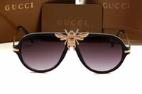 óculos escuros de grife espelhar italy venda por atacado-Moda 2018 grande abelha óculos de sol para as mulheres homem itália famosos designers óculos de sol moda óculos de proteção estilo 1885 óculos máscara espelho eyewear