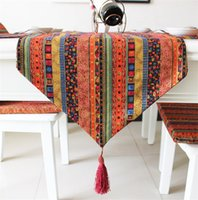 Wholesale home table runners wholesale - American Style Multicolor Cotton And Linen Table Runner Stripe Gilding Hotel Bed Teahouse Inn Cloths Home Decoration 22ey4 ff