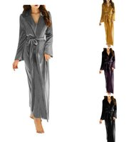 Wholesale shawl robe online - Women s Long Bathrobe Fuzzy Velvet Warm Robes for Winter Plush Shawl S XL In Stock Top Quality Women Night Gown With Belt