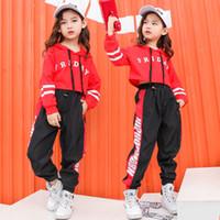 dans kostümleri pantolon toptan satış-Moda Hip Hop Giysileri Balo Salonu Dans Kostümleri Çocuklar için Hoodies Kız Caz Gevşek Dans Pantolon Performans Sergi Suits