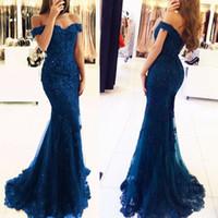 robes de soirée bleu royal france achat en gros de-élégantes robes de bal en dentelle bleu marine au large des robes de soirée sirène épaule perlée Parti