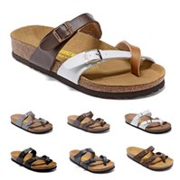 Wholesale men sandals hot sale resale online - Hot Sale Mayari Arizona Gizeh summer Men Women flats sandals Cork slippers unisex casual shoes print mixed colors Fashion Flats