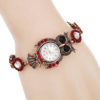 сова смотреть женщина оптовых-Алмаз nighthawk Сова женщины мода часы ретро синий и красный браслет намотки браслет вязать ремешок часы дамы Relogios бронзовые наручные часы