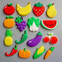 frutas ímãs venda por atacado-Frutas Vegetais Frigorífico Ímã 3D Dos Desenhos Animados Ímãs de Geladeira Adesivo Escritório Placa de Ombro Etiqueta Artesanato Home Decor WX9-821