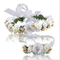 brautjungfern kopfbedeckungen großhandel-Brautgirlande, koreanische Brautjungfer, Kopfbedeckung, Reifen, Handgelenkblume, Hochzeitszubehör