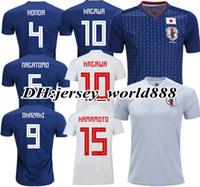 Wholesale Japan 18 - TOP QUALITY 2018 World Cup Japan home blue soccer jersey OKAZAKI KAGAWA HASEBE NAGATOMO HARAGUCHI KIYOTAKE 18 19 Japan away football shirts