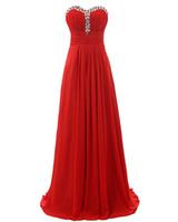 rhinestone bridesmaid dress toptan satış-Ucuz Bir Çizgi Uzun Gelinlik Giydirme 2018 Yeni Şifon Sevgiliye Kolsuz Rhinestone Gelinlik Nedime Elbiseler Custom Made Artı Boyutu