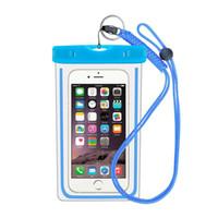 mavi yüzme çantası toptan satış-2018 Yeni Varış Sıcak Satış Aydınlık Su Geçirmez Çanta Şeffaf Su Geçirmez Telefon Çanta Yüzme Sürüklenen Dalış Renk için Uygun Mavi