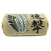 Wholesale attack titan wing online – design Cartoon Attack on Titan Wings Children Teenager Student Canvas Pencil Case Box Pen Bag Cosmetic Makeup Change Purse Bag