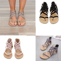 a39180742db1 Plus size Summer Women Flat Heel Clip Toe Hollow Out Rome Sandals Flip Flops  Breathable Chunky Heels Beach Ankle Shoes 2018