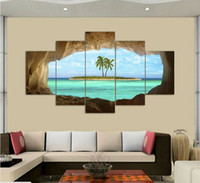 öl leinwand palmen großhandel-2017 Wandkunst Ölgemälde Ungerahmt 5 Stücke höhle meer insel kokospalme Malerei Malerei Dekoration Bild Leinwand
