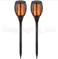 Wholesale family landscaping - 96 LED Waterproof Flickering Flame Solar Torch Light Outdoor Garden Lamp LED Fire Effect Landscape Nights Outdoor Gadgets OOA5192
