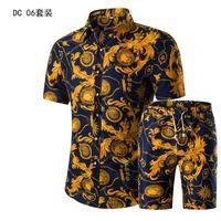 полная грудь оптовых-Рубашка набор с коротким рукавом рубашки печатных мужские летние новые мужская одежда костюм однобортный кнопка летать случайные полный хлопок