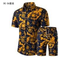 seios completos venda por atacado-Camisa conjunto camisa de manga curta impresso verão dos homens novos homens roupas terno Único Botão Breasted Fly Casual Algodão Completo