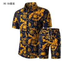 volle brüste großhandel-Shirt set kurzarm shirt gedruckt männer sommer neue herrenbekleidung anzug Single Breasted Button Fly Casual Full Cotton