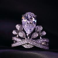 ingrosso anello di giorno del biglietto di s. valentino dell'oro bianco-Anello da donna in oro bianco con zirconi bianchi e anelli da donna in argento