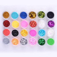 tırnak şekillendirme kitleri toptan satış-24 Renkler Karışık Şekil Metal Parlak akrilik Toz sıvı Glitter Nail Art Tool Kit UV Toz mücevher Tırnak Araçları Set