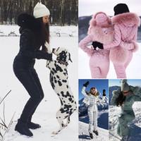 Wholesale big parking - Women Ski Suit Fashion Large Raccoon Fur Collar Park Jumpsuit Big Hooded Down Coat Slim Waist Cotton Padded Playsuit Winter Ski Suit