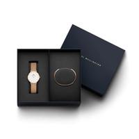 стальной браслет из нержавеющей стали оптовых-Даниэль Веллингтон новый подарок упаковка люксовый модный бренд браслет и 32 мм женщины из нержавеющей стали розовое золото часы известная женщина Леди Монтр
