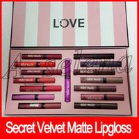 Wholesale hot lip bag for sale - Group buy Hot Secret Makeup set liquid lipstick colors love velvet matte lipgloss set set with paper bag cream lip stain