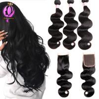 Wholesale brazilian beautiful women - Brazilian Body Wave Bundles With Closure 4*4 Lace Closure Brazilian Hair Weave Bundles With Closure Human Remy Hair For beautiful women