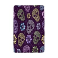 Wholesale queen skull bedding for sale - Colorful Floral Sugar Skull Purple Blanket Soft Warm Cozy Bed Couch Lightweight Polyester Microfiber Blanket