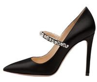 черные атласные туфли оптовых-Элегантный острым носом высокий каблук черный атлас Мэри Джейнс насосы с кристаллами женщины вечернее платье каблуки Женская обувь шпильки 2018