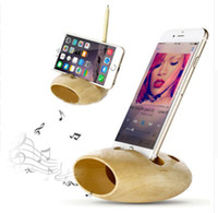 Wholesale iphone speaker phone dock for sale - Group buy Bamboo Wooden Mobile Cell phone Holder For iphone Samsung Natural Sound Speaker charging dock Station Voice Music Sound Amplifier Universal