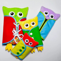 Wholesale multi button dress resale online - 4pcs set Baby Push Owl Toy Kids Learning Dressing Practical Zip Snap Button Buckle Wear Preschool Training Toys Party Favor AAA939