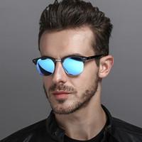 gafas de hombre polarizadas amarillas al por mayor-[EL Malus] Gafas de sol con montura redonda polarizada Hombres Hombre Gris Amarillo Plata Rojo Visión nocturna Lente Espejo Retro Diseñador de la marca Gafas de sol SG078