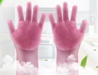 magische handschuhe geben verschiffen frei großhandel-Mit OPP Bag New Reinigungsbürste Silikonhandschuh Reinigen Sie die Badezimmerkocher und Haustier Auto Magic Handschuhe Kostenloser Versand