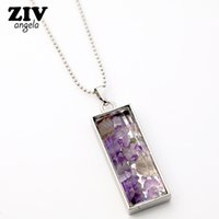 Wholesale Clear Bottle Necklaces - whole saleNew Natural Fluorite Crystal Stone Beads Chip Clear Glass rectangle Wish Box Wishing Bottle Charms Pendant Necklace Jewelry