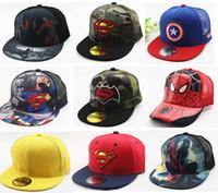 chapéus superman chapéus venda por atacado-Venda quente Crianças Dos Desenhos Animados Colorido Superman Batman Ajustável Crianças Snapback Boné De Beisebol Unisex Hip Hop Chapéus