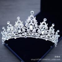 gelinler başlıklar toptan satış-Gelin Takı Tiara Headpieces Beyaz Kristal Taç Gelin Prenses Taç Başlığı Düğün Elbise Için 2018 Düğün Gelin Aksesuarları
