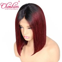 Wholesale remy bob wig - Slove Ombre Straight Short Bob Wigs Lace Front Human Hair Wigs For Black Women T1B 99j Pre Plucked Brazilian Remy Hair With Baby Hair