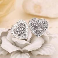 letras de amor de aretes al por mayor-Cartas de moda Pendientes de cristal contraído Pendientes con forma de corazón de una aleación de corazón de oro Plata Oro Rosa