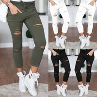 Wholesale black high waisted denim - Sexy Womens High Waisted Denim Stretch Jeans leggings Destroy Skinny Ripped Distressed Pants Trousers S M L XL