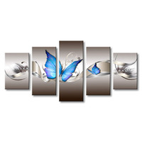 ingrosso butterfly paintings for wall-Decorazioni per la casa Regalo Stile moderno Farfalla Tela Decorazione di arte della parete Pittura senza cornice Pittura HD Dipinto ad olio