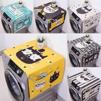 máquina de lavar roupa venda por atacado-Kawaii Gato Dos Desenhos Animados Animal Duplo-purpose Capa Protetora Contra Poeira de Linho Máquina de Lavar Roupa De Cozinha Frigorífico Sacos De Armazenamento Bolsa 1 PC