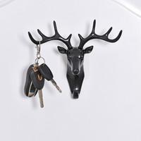 hayvanlar anahtar başlığı toptan satış-3 Renk Geyik Kafası Hayvan Kendinden Yapışkanlı Giyim Ekran Rafları Kanca Coat Askı Kapağı Odası Dekor Gösterisi Duvar Çanta Tuşları Yapışkan Tutucu B