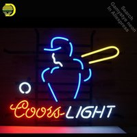 ingrosso coorti segni-Neon Sign for Coors Light Lampadina al neon da baseball Iscriviti Birra Bar Luci da pub in vetro Tube Iconic Pubblicizza Light Bar Bar Signs