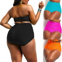 плюс размер стринги бикини нижнее белье оптовых-Women High Waisted PLUS Size Bikini Briefs Swim Underwear Bottom Women Summer Bathing Thong Swimsuit Oversize XL XXL 3XL 4XL