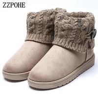 botas de invierno antideslizantes al por mayor-ZZPOHE 2017 Mujeres de Invierno Botas de Nieve Mujer Cálido Plataforma Plana Botines Femeninos antideslizantes Cómodos zapatos de algodón envío gratis