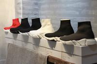 Wholesale Women S Fashion Socks - 2018 Designer Luxury Paris Triple-S Sneaker Speed Mid Love Running Shoes Men Women Triple S Black Red Fashion Casual Sports Socks Shoes 36-4