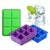 Wholesale square ice cube online - 6 Hole Square Ice Lattice Mold Food Grade Silicone Cube Tray Jelly Pudding Cake Chocolate Kitchen Baking Mould Accessory js VY