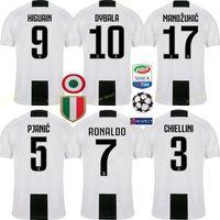 Wholesale custom soccer shirts - 2018 2019 Juventus Soccer Jersey 7 RONALDO BUFFON DYBALA D. COSTA MANDZUKIC PJANIC Custom Home 18 19 Men Women Kids Youth Football Shirt