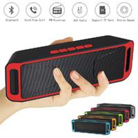 yüksek usb müzik çalar toptan satış-SC208 Mini Taşınabilir Bluetooth Hoparlörler Kablosuz Loud Büyük Bas Subwoofer Desteği TF USB FM Radyo HIFI Açık Müzik Çalar 2019 Yılbaşı Hediye