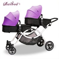 Wholesale High Fashion Umbrella - Four Wheels Shock Absorption Fashion High quality twins baby strollers baby twin carriage Four colors newborn can use suspension bb pram