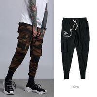pantalones tobilleros al por mayor-Nuevas tendencias Camuflaje Pantalones de chándal de carga negros Pantalones atados a los tobillos para correr Slim Fit Sport Track Preppy