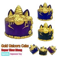 Wholesale golden unicorn - Golden Unicorn Cake Squishy Toys Cute 11cm Jumbo Slow Rising Kid cute Toy Gift Novelty Items FFA261 30PCS